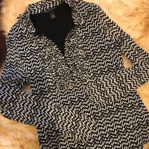 INC. International Concepts Blouse Size Large B&W